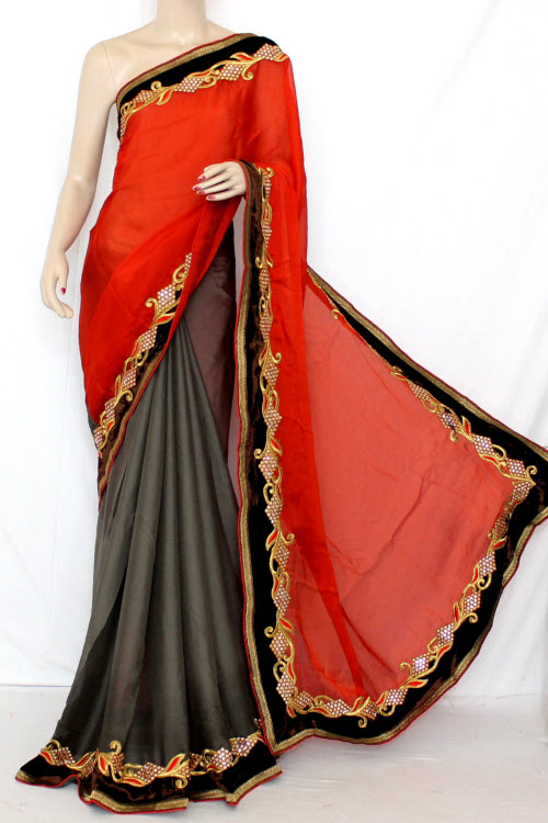 Rust & Grey Half-Half Embroidered Saree Georgette Fabric (With attached Blouse) 13349