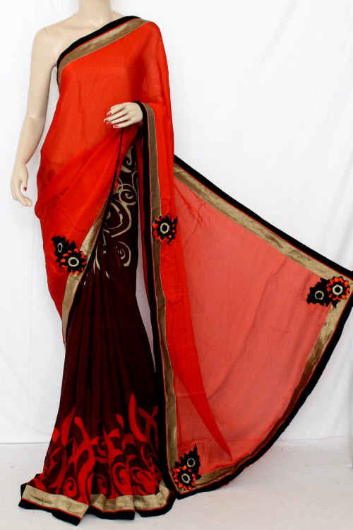 Rust & Coffee Half-Half Saree Georgette Fabric (With attached Blouse) 13353