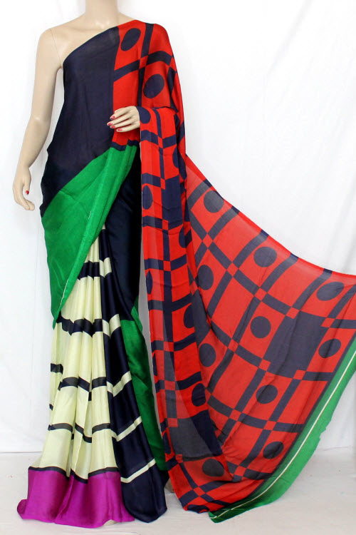 Multi-Color Printed Crepe Silk Saree (With Blouse) 13355