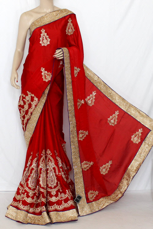 Red Exclusive Embroidered Saree Georgette Fabric (With Contrast Blouse) 13366