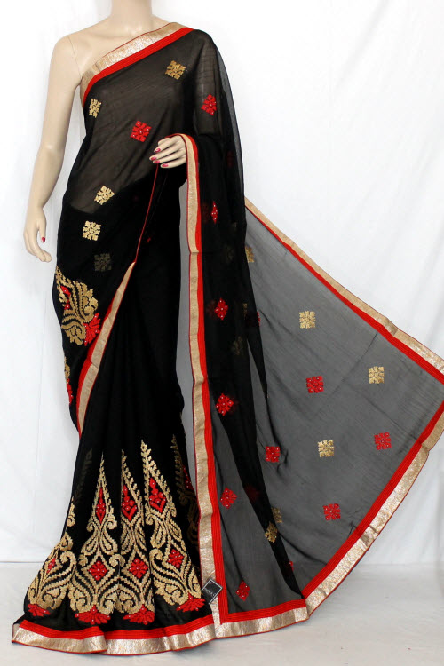 Black Exclusive Embroidered Saree Dupion Silk Fabric (With attached Blouse) 13370
