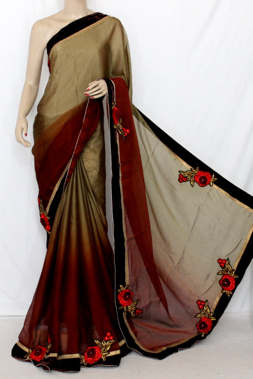 Fawn & Brown Floral Motifs Shaded Saree Georgette Fabric (With attached Golden Blouse) 13371