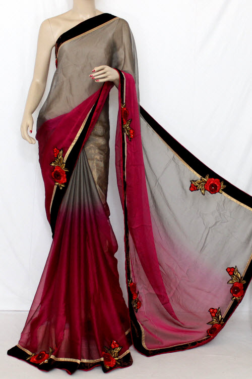 Fawn & Magenta Floral Motifs Shaded Saree Georgette Fabric (With attached Golden Blouse) 13372