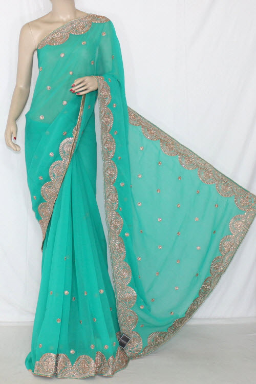 Green Embroidered Crepe Georgette Fabric (With Unstitched Blouse) 13389