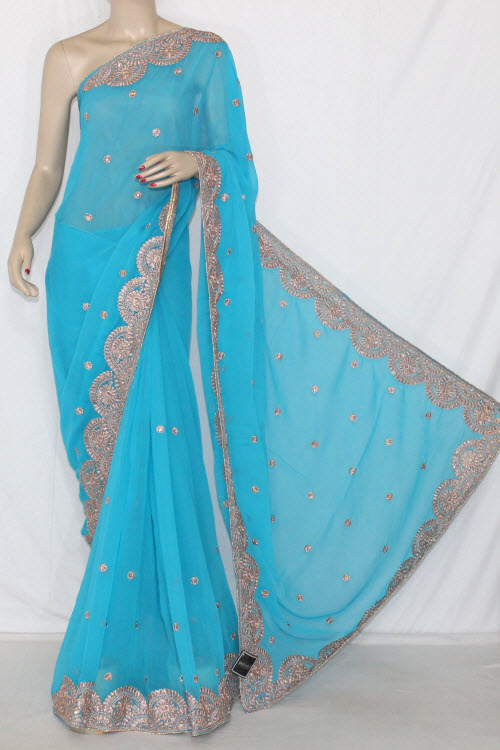 Pherozi Blue Embroidered Crepe Georgette Fabric (With Unstitched Blouse) 13390