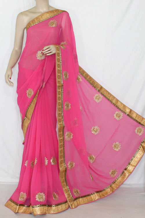 Pink Embroidered Saree Crepe Georgette Fabric (With Unstitched Blouse) 13396
