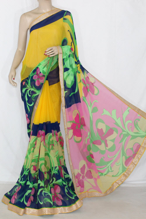 Golden Yellow Green Multi-color Printed Georgette Saree (With Blouse) 13397