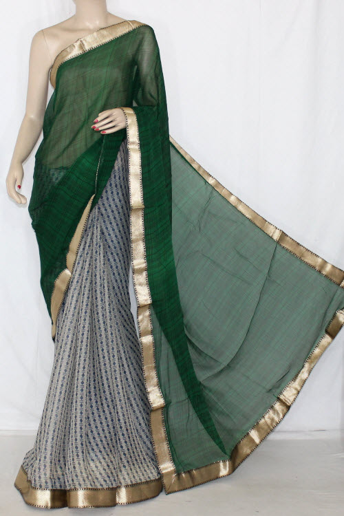 Green Grey Half-Half Printed Silk Feel Saree (With Blouse) 13402