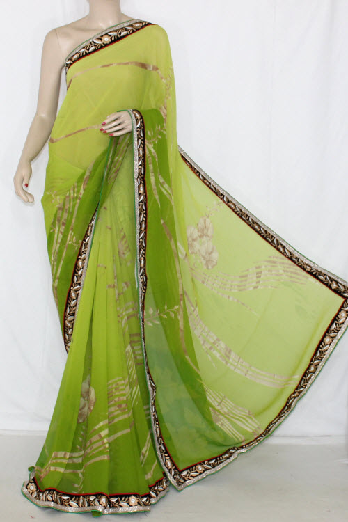 Menhdi Green Shaded Printed Semi-Chiffon Saree (With Blouse) 13407