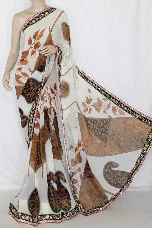 Off White - Brown Printed Semi-Chiffon Saree (With Blouse) 13410