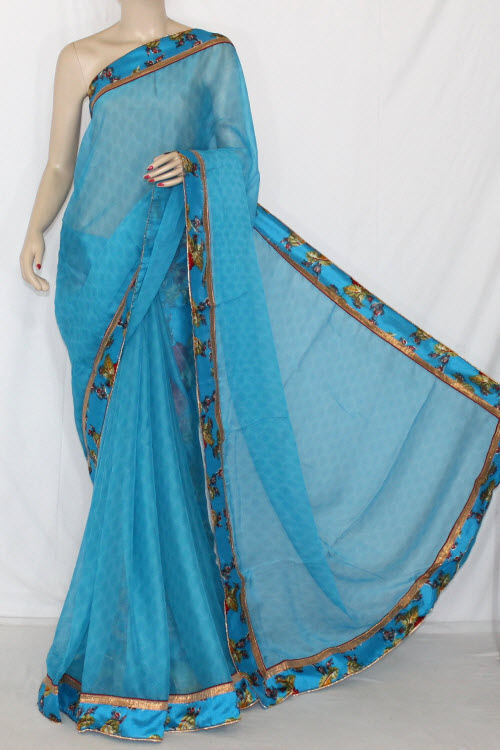 Pherozi Blue Semi-Chiffon Saree (With Printed Blouse) 13411