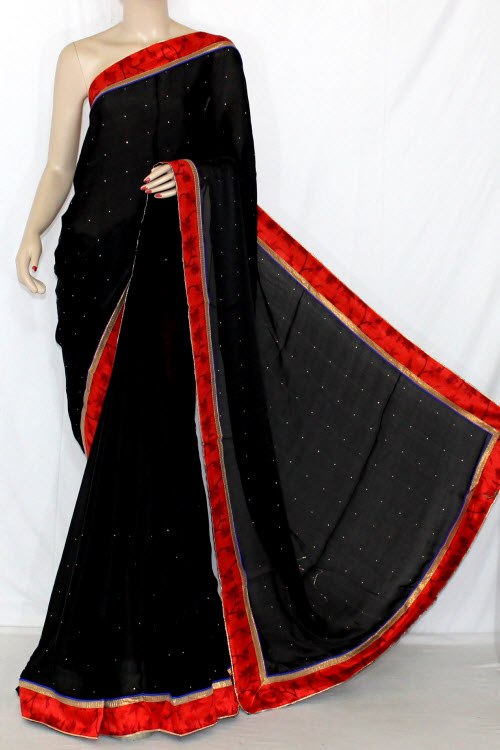 Black Satin-Chiffon Saree (With Printed Blouse) 13412