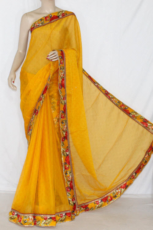 Yellow Semi-Chiffon Saree (With Printed Blouse) 13413