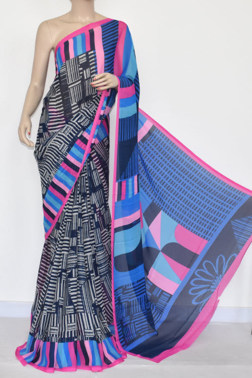 Navy Blue Pherozi Printed Wrinkle Georgette Saree (With Blouse) 13422