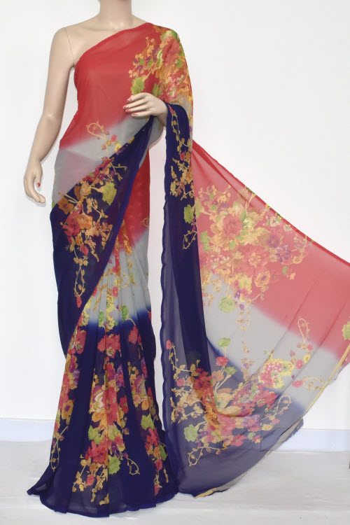 Navy Blue Peach Printed Dx Quality Georgette Saree (With Blouse) 13428