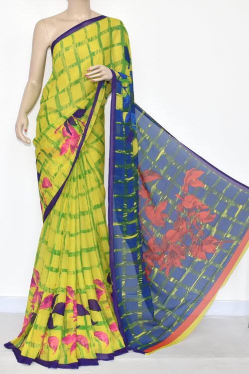 Yellow Blue Printed Wrinkle Georgette Saree (With Blouse) 13430