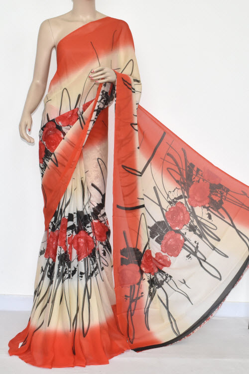 Cream Orange Printed Wrinkle Georgette Saree (With Blouse) 13434