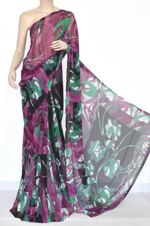 Black Magenta Printed Dx Quality Georgette Saree (With Blouse) 13440