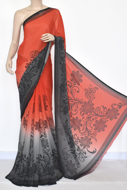 Peach Grey Printed Wrinkle Georgette Saree (With Blouse) 13442
