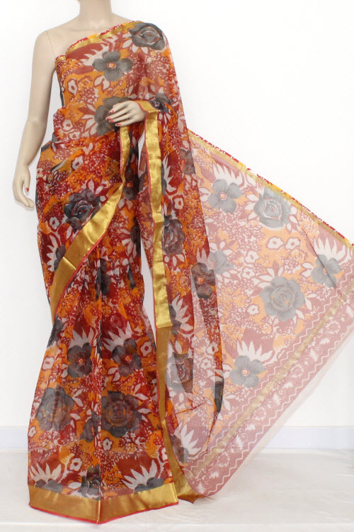 Orange Magenta JP Kota Doria Printed Cotton Saree (without Blouse) Zari Border & Pallu 13552