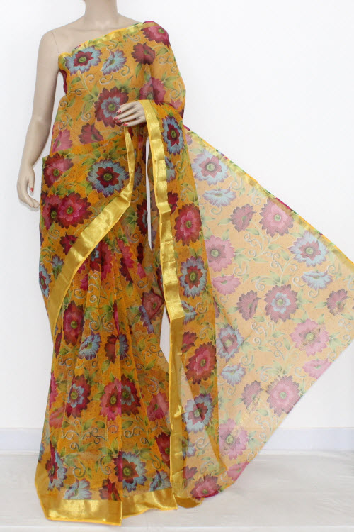 Yellow JP Kota Doria Printed Cotton Saree (without Blouse) Zari Border & Pallu 13554