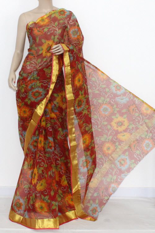 Red JP Kota Doria Printed Cotton Saree (without Blouse) Zari Border & Pallu 13555
