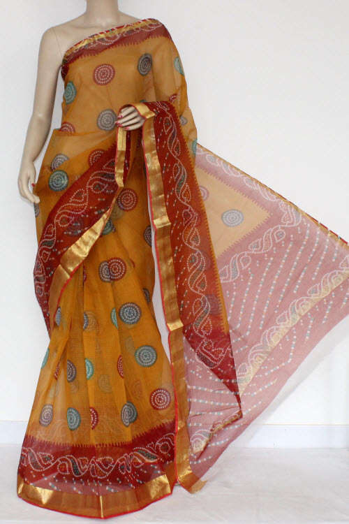 Mustared Yellow Red JP Kota Doria Printed Cotton Saree (without Blouse) Zari Border & Pallu 13570