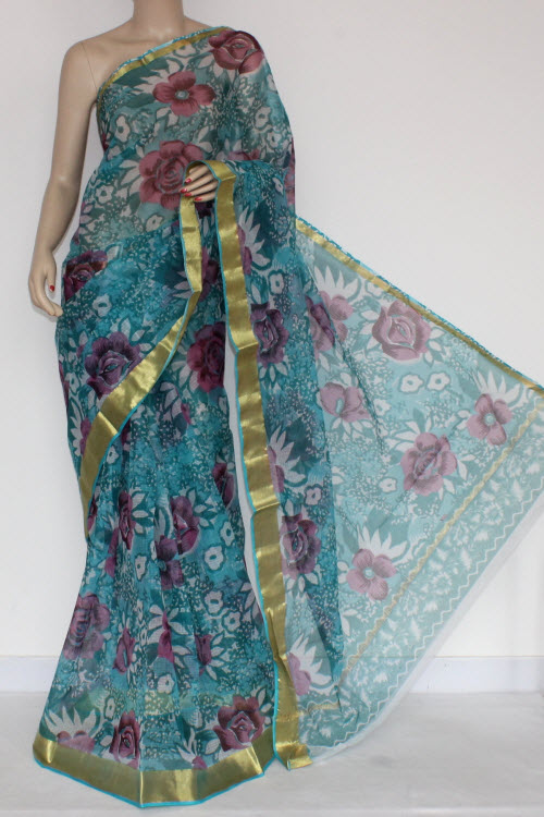 Pherozi Blue JP Kota Doria Printed Cotton Saree (without Blouse) Zari Border & Pallu 13571