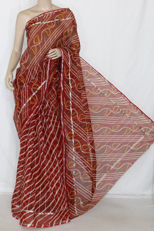 Red JP Kota Doria Chunri Print Cotton Saree (without Blouse) Silver Zari Border 13614
