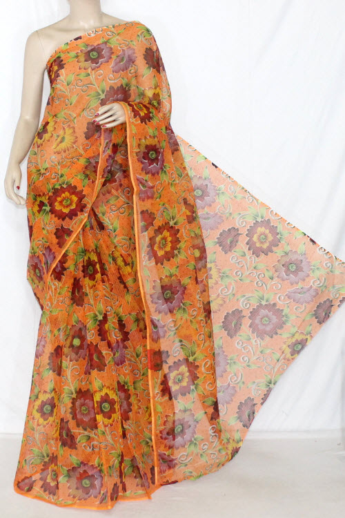 Orange JP Kota Doria Printed Cotton Saree (without Blouse) 13618