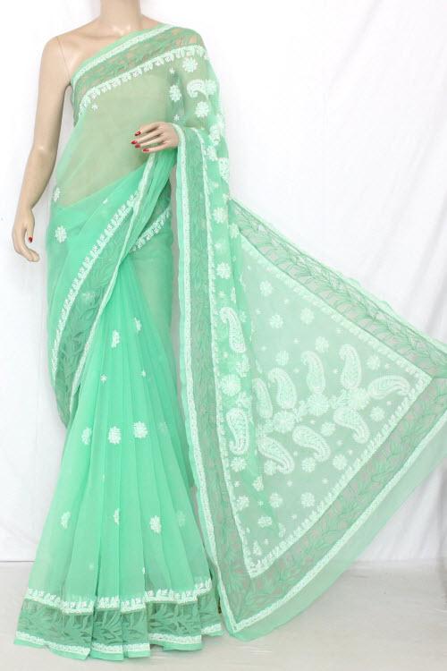 Pista Green Designer Hand Embroidered Lucknowi Chikankari Saree