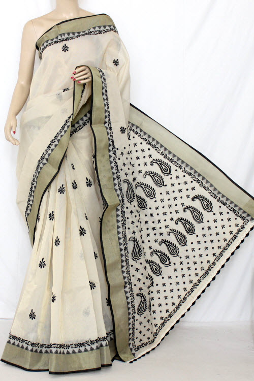 Black Designer Hand Embroidered Lucknowi Chikankari Saree (With Blouse - Supernet) 13750