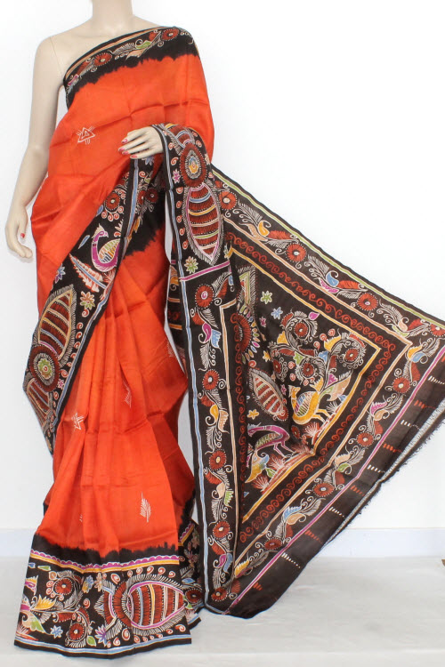 Orange Designer Hand-Printed Double Knitted Bishnupuri Pure Silk Saree (With Blouse) 13815