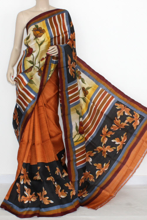 Rust Designer Handprinted Double Knitted Bishnupuri Pure Silk Saree (With Blouse) 13818