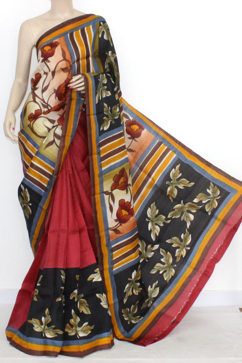 Magenta Designer Handprinted Double Knitted Bishnupuri Pure Silk Saree (With Blouse) 13829
