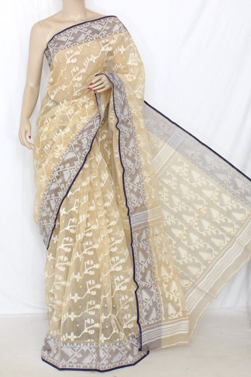 Beige Handwoven Bengal Kora Tant Cotton Saree (Without Blouse) 13895
