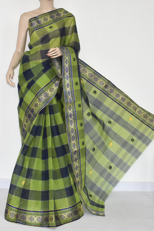 Menhdi Green Handwoven Dhaniakhali Bengali Tant Cotton Saree (Without Blouse) 13928
