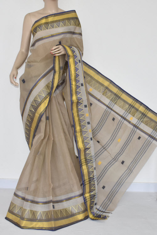 Beige Handwoven Dhaniakhali Bengali Tant Cotton Saree (Without Blouse) 13937