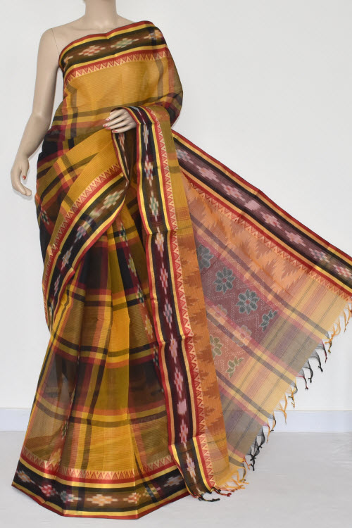 Golde Yellow Black Check Handwoven Dhaniakhali Bengali Tant Cotton Saree (Without Blouse) Pocham Palli 13940