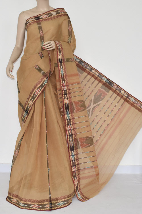 Fawn Handwoven Dhaniakhali Bengali Tant Cotton Saree (Without Blouse) Pocham Palli 13947