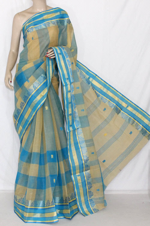 Pherozi Blue Handwoven Dhaniakhali Bengali Tant Cotton Saree (Without Blouse) 13954