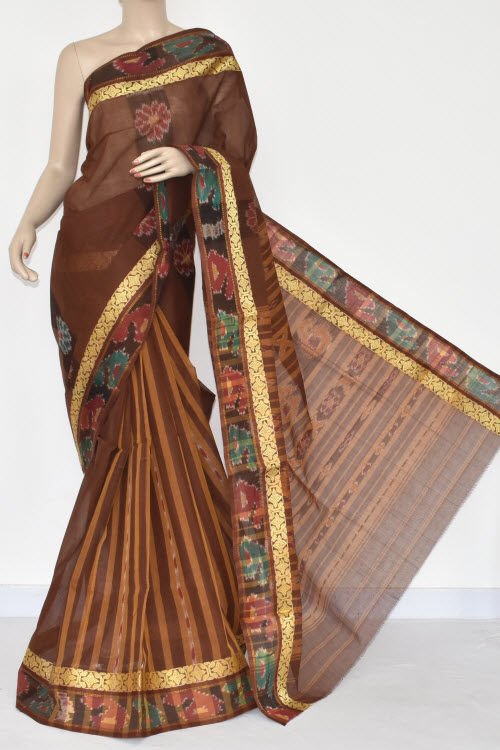 Coffee Color Handwoven Dhaniakhali Bengali Tant Cotton Saree (Without Blouse) Pocham Palli 13958