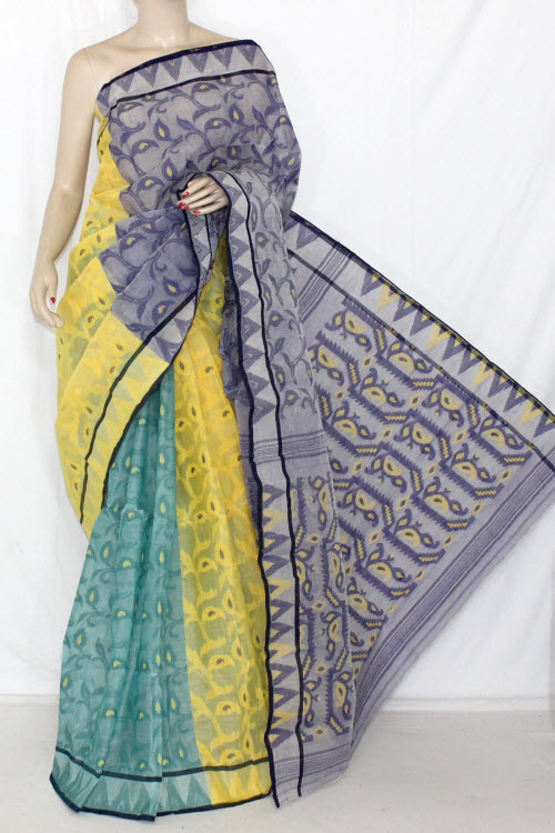 3D Purple Yellow Green Designer Handwoven Bengali Tant Cotton Saree (Without Blouse) 13999