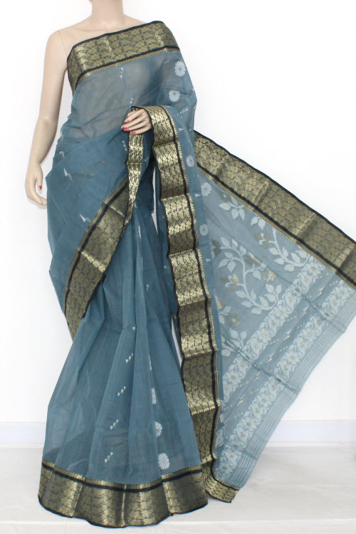 Steel Grey Handwoven Bengali Tant Cotton Saree (Without Blouse) 14009