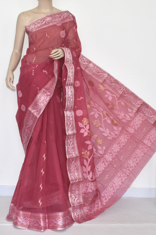 Move Handwoven Bengali Tant Cotton Saree (Without Blouse) Silver Zari Border 14016