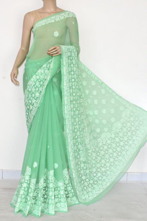 Green Hand Embroidered Lucknowi Chikankari Saree (Georgette-With Blouse) 14597