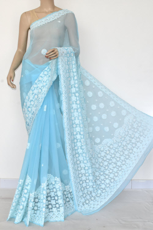 Sky Blue Hand Embroidered Lucknowi Chikankari Saree (Georgette-With Blouse) 14598