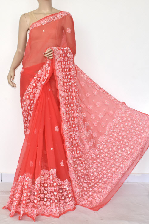 Red Hand Embroidered Lucknowi Chikankari Saree (Georgette-With Blouse) 14600