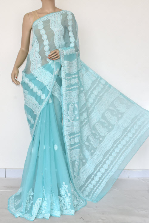 Sea Blue Hand Embroidered Lucknowi Chikankari Saree (Georgette-With Blouse) 14601