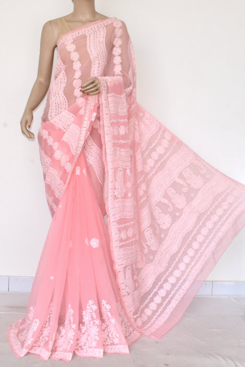 Light Pink Hand Embroidered Lucknowi Chikankari Saree (Georgette-With Blouse) 14602